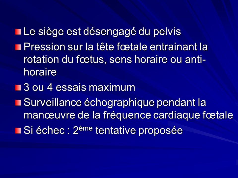 Le siège est désengagé du pelvis Pression sur la tête fœtale entrainant la rotation du fœtus, sens horaire ou anti- horaire 3 ou 4 essais maximum Surv