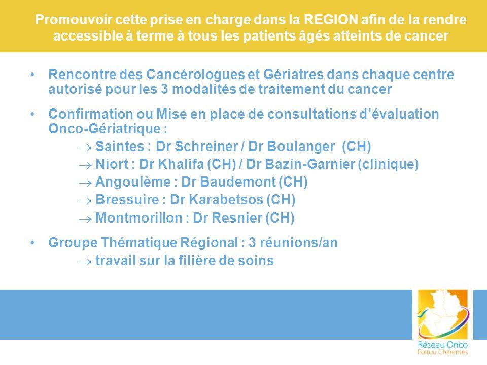 Promouvoir cette prise en charge dans la REGION afin de la rendre accessible à terme à tous les patients âgés atteints de cancer Rencontre des Cancéro