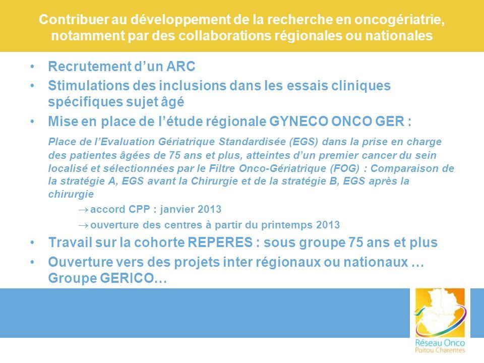 Contribuer au développement de la recherche en oncogériatrie, notamment par des collaborations régionales ou nationales Recrutement dun ARC Stimulatio