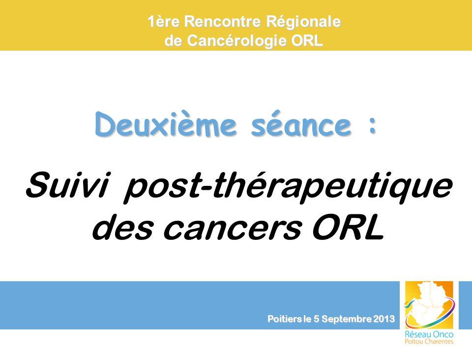 Poitiers le 5 Septembre 2013 Clinique et Surveillance Suivi post-thérapeutique des cancers ORL Hélène LEBRUN-LOSLIER (Poitiers) Dépistage des localisations métachrones bronchiques et oesophagiennes