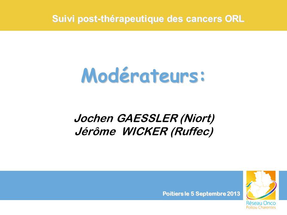 1 ère communication : Clinique et Surveillance Hélène LEBRUN-LOSLIER (Poitiers) Poitiers le 5 Septembre 2013 Suivi post-thérapeutique des cancers ORL