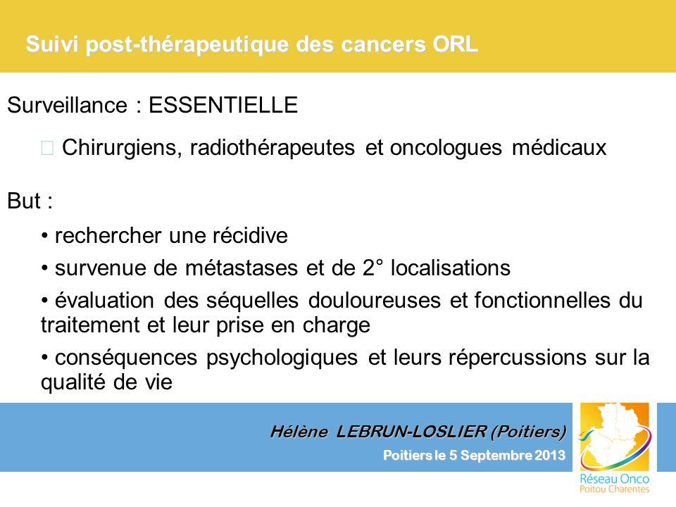 Suivi post-thérapeutique des cancers ORL 12 15 18 21 24 28 32 36 Examen clinique RP TSH RP TSH RP TSH 2 e année 3 e année Poitiers le 5 Septembre 2013 Hélène LEBRUN-LOSLIER (Poitiers)
