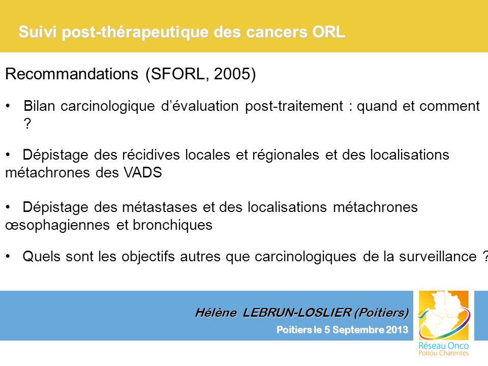 Poitiers le 5 Septembre 2013 Clinique et Surveillance Suivi post-thérapeutique des cancers ORL Hélène LEBRUN-LOSLIER (Poitiers) Dépistage des localisations métachrones des VADS