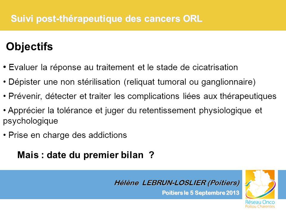 Poitiers le 5 Septembre 2013 Clinique et Surveillance Suivi post-thérapeutique des cancers ORL Hélène LEBRUN-LOSLIER (Poitiers) Dépistage des métastases dans les cancers des VADS
