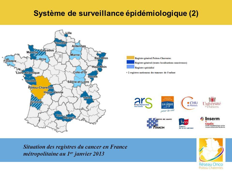 Système de surveillance épidémiologique (2) Situation des registres du cancer en France métropolitaine au 1 er janvier 2013