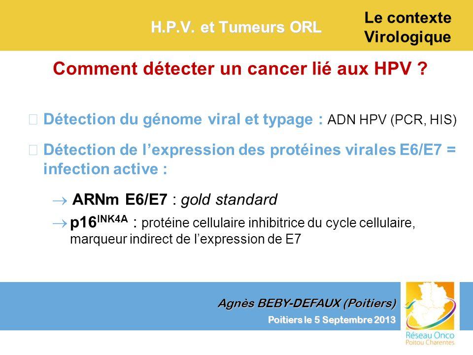 Agnès BEBY-DEFAUX (Poitiers) Le contexte Virologique Poitiers le 5 Septembre 2013 H.P.V. et Tumeurs ORL –Détection du génome viral et typage : ADN HPV