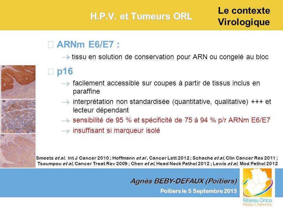 Agnès BEBY-DEFAUX (Poitiers) Le contexte Virologique Poitiers le 5 Septembre 2013 H.P.V. et Tumeurs ORL –ARNm E6/E7 : tissu en solution de conservatio