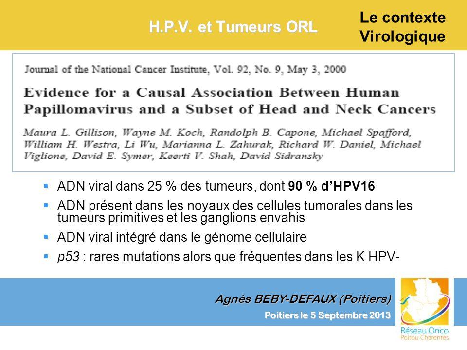 Agnès BEBY-DEFAUX (Poitiers) Le contexte Virologique Poitiers le 5 Septembre 2013 H.P.V. et Tumeurs ORL ADN viral dans 25 % des tumeurs, dont 90 % dHP