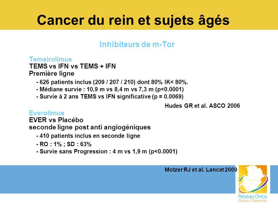 Cancer du rein et sujets âgés Inhibiteurs de m-Tor Temsirolimus TEMS vs IFN vs TEMS + IFN Première ligne - 626 patients inclus (209 / 207 / 210) dont