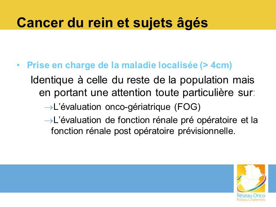 Cancer du rein et sujets âgés Prise en charge de la maladie localisée (> 4cm) Identique à celle du reste de la population mais en portant une attentio