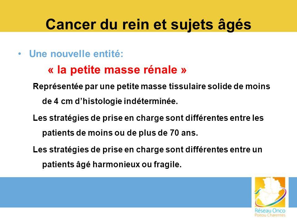 Cancer du rein et sujets âgés Une nouvelle entité: « la petite masse rénale » Représentée par une petite masse tissulaire solide de moins de 4 cm dhis