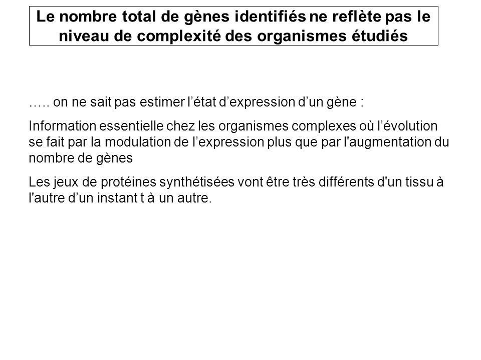 ….. on ne sait pas estimer létat dexpression dun gène : Information essentielle chez les organismes complexes où lévolution se fait par la modulation