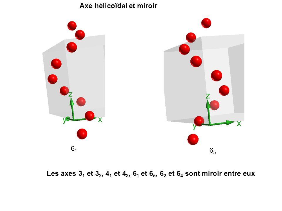 Axe hélicoïdal et miroir 6161 6565 Les axes 3 1 et 3 2, 4 1 et 4 3, 6 1 et 6 5, 6 2 et 6 4 sont miroir entre eux