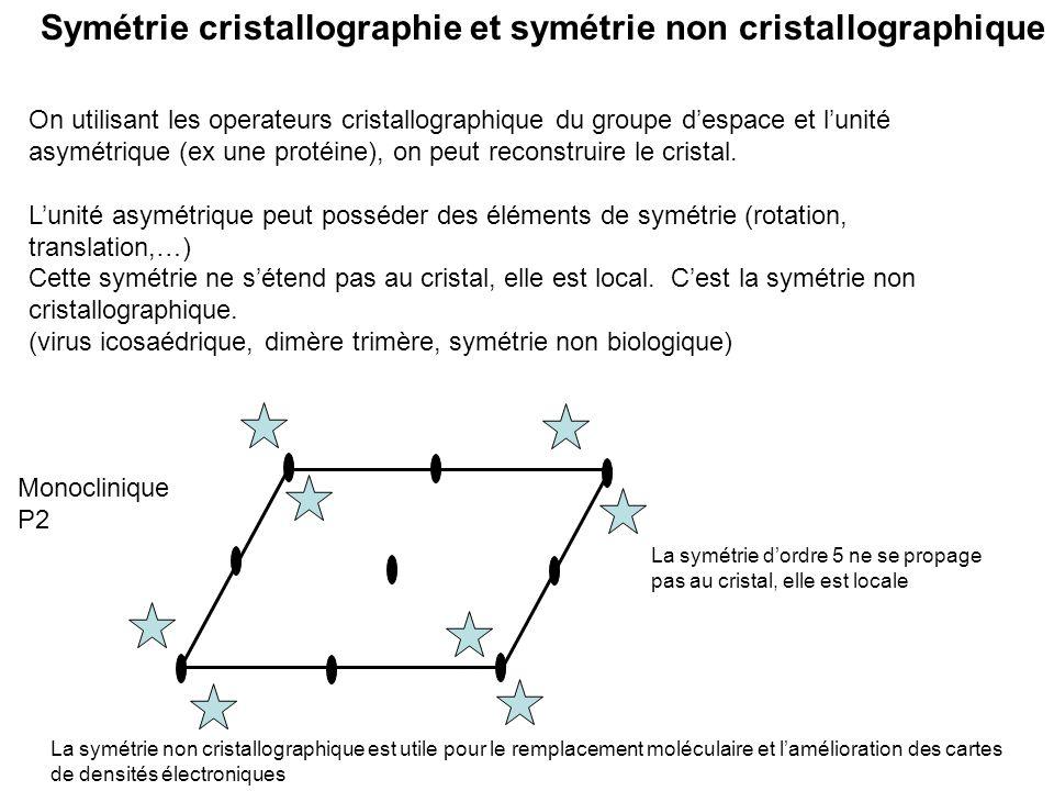 Symétrie cristallographie et symétrie non cristallographique On utilisant les operateurs cristallographique du groupe despace et lunité asymétrique (e