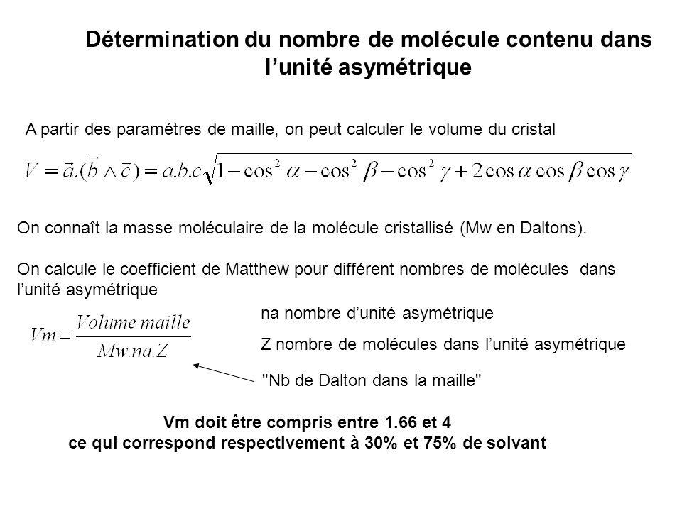 Détermination du nombre de molécule contenu dans lunité asymétrique A partir des paramétres de maille, on peut calculer le volume du cristal On connaî