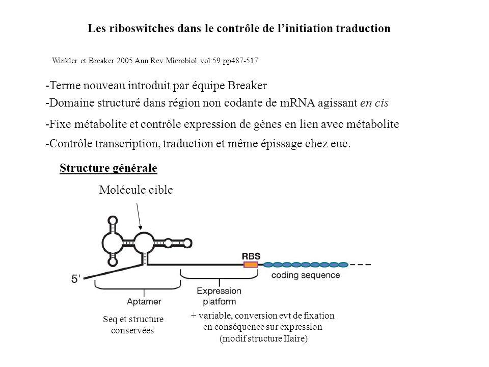 Les riboswitches dans le contrôle de linitiation traduction -Terme nouveau introduit par équipe Breaker Winkler et Breaker 2005 Ann Rev Microbiol vol: