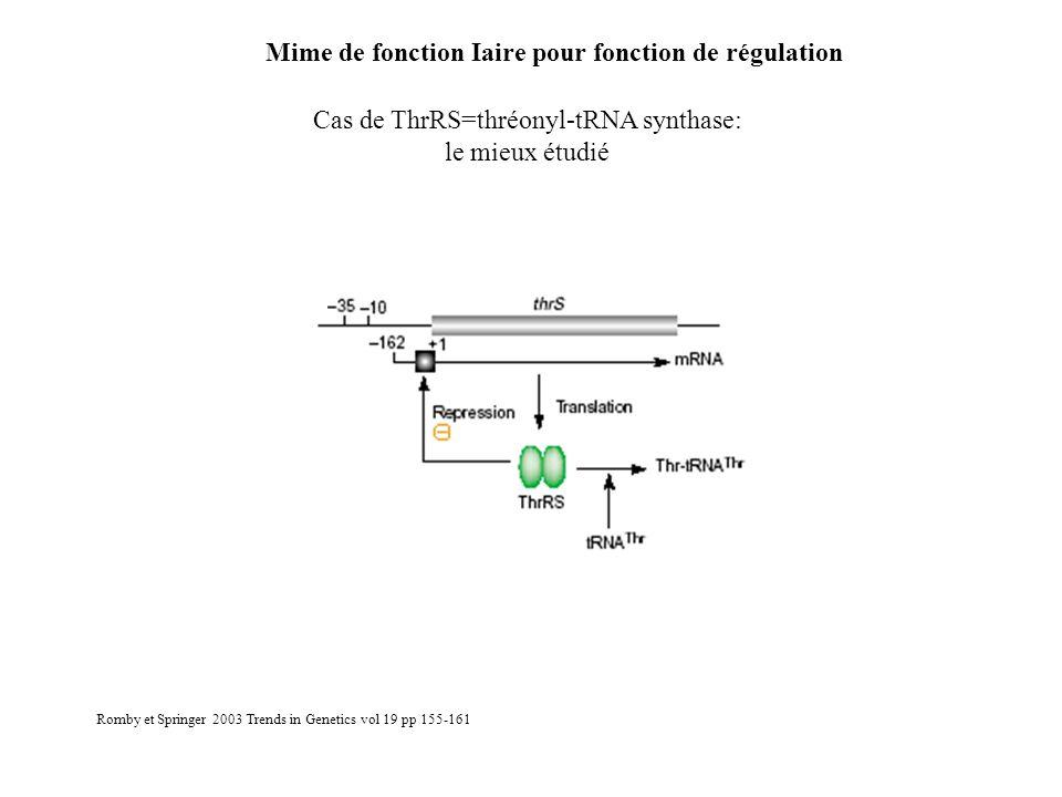 Mime de fonction Iaire pour fonction de régulation Cas de ThrRS=thréonyl-tRNA synthase: le mieux étudié Romby et Springer 2003 Trends in Genetics vol