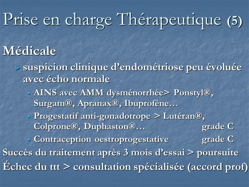Prise en charge Thérapeutique (6) Médicale Endométriose profonde (infertilité exclue) Endométriose profonde (infertilité exclue) Traitement médical antigonadotrope (mini 3 mois) Progestatif à dose anti gonadotropeaccord prof Progestatif à dose anti gonadotropeaccord prof Agoniste de la GnRH pendant max 6 mois grade A Agoniste de la GnRH pendant max 6 mois grade A Enantone®, Décapeptyl® Un relais des agoniste de la GnRH par un autre traitement antigonadotrope à 3 mois est possible Un relais des agoniste de la GnRH par un autre traitement antigonadotrope à 3 mois est possible Antalgiques Antalgiques
