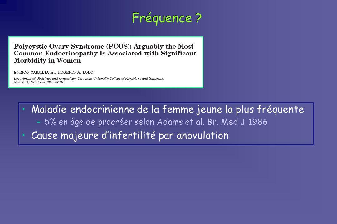 Fréquence ? Maladie endocrinienne de la femme jeune la plus fréquente –5% en âge de procréer selon Adams et al. Br. Med J 1986 Cause majeure dinfertil