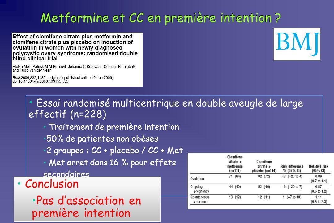 Metformine et CC en première intention ? Essai randomisé multicentrique en double aveugle de large effectif (n=228) Traitement de première intention 5