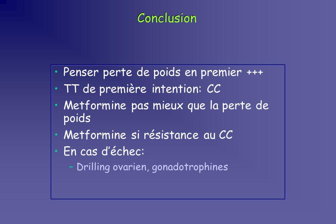 Conclusion Penser perte de poids en premier +++ TT de première intention: CC Metformine pas mieux que la perte de poids Metformine si résistance au CC
