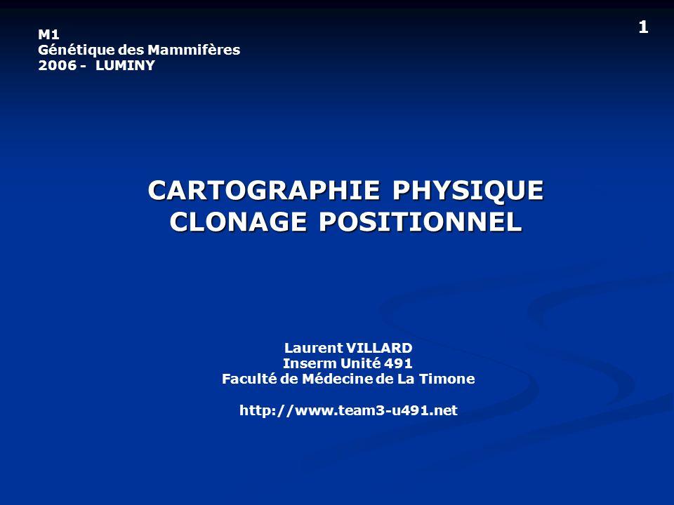 CARTOGRAPHIE PHYSIQUE CLONAGE POSITIONNEL Laurent VILLARD Inserm Unité 491 Faculté de Médecine de La Timone http://www.team3-u491.net M1 Génétique des