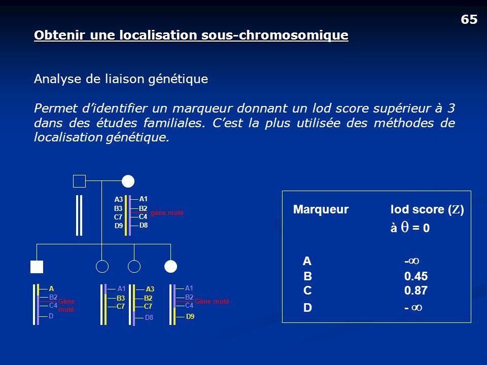 Obtenir une localisation sous-chromosomique Analyse de liaison génétique Permet didentifier un marqueur donnant un lod score supérieur à 3 dans des ét