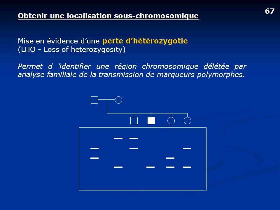 67 Obtenir une localisation sous-chromosomique Mise en évidence dune perte dhétérozygotie (LHO - Loss of heterozygosity) Permet d identifier une régio