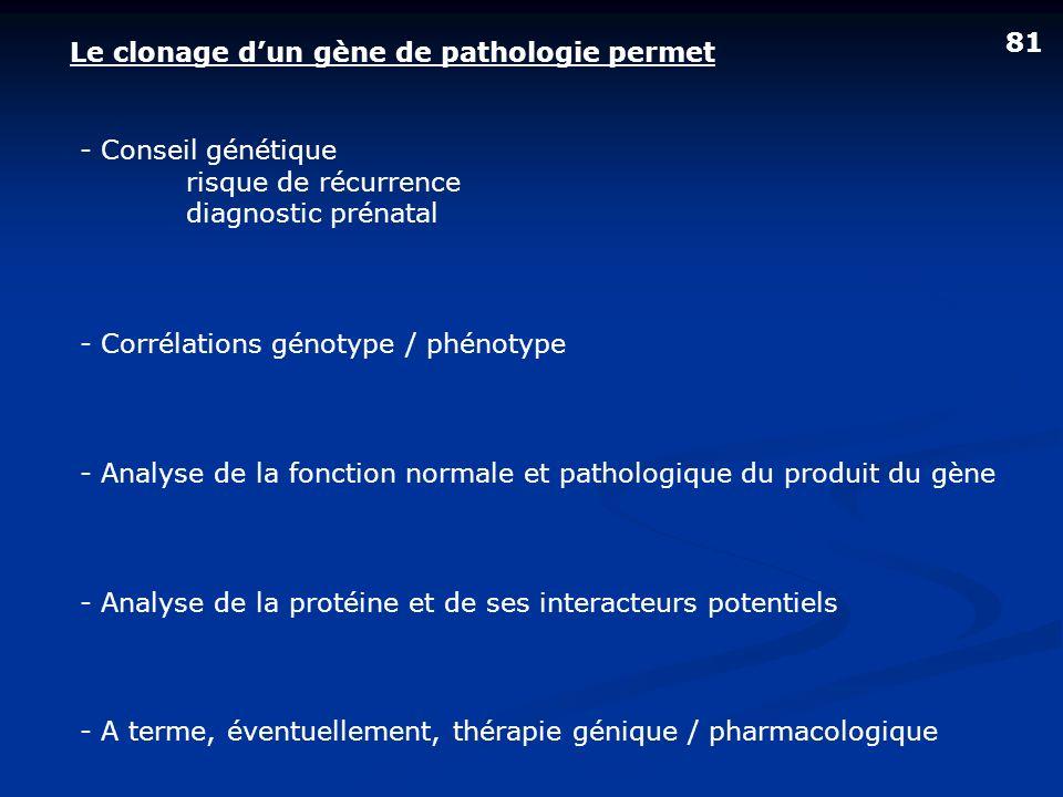 Le clonage dun gène de pathologie permet 81 - A terme, éventuellement, thérapie génique / pharmacologique - Analyse de la protéine et de ses interacte