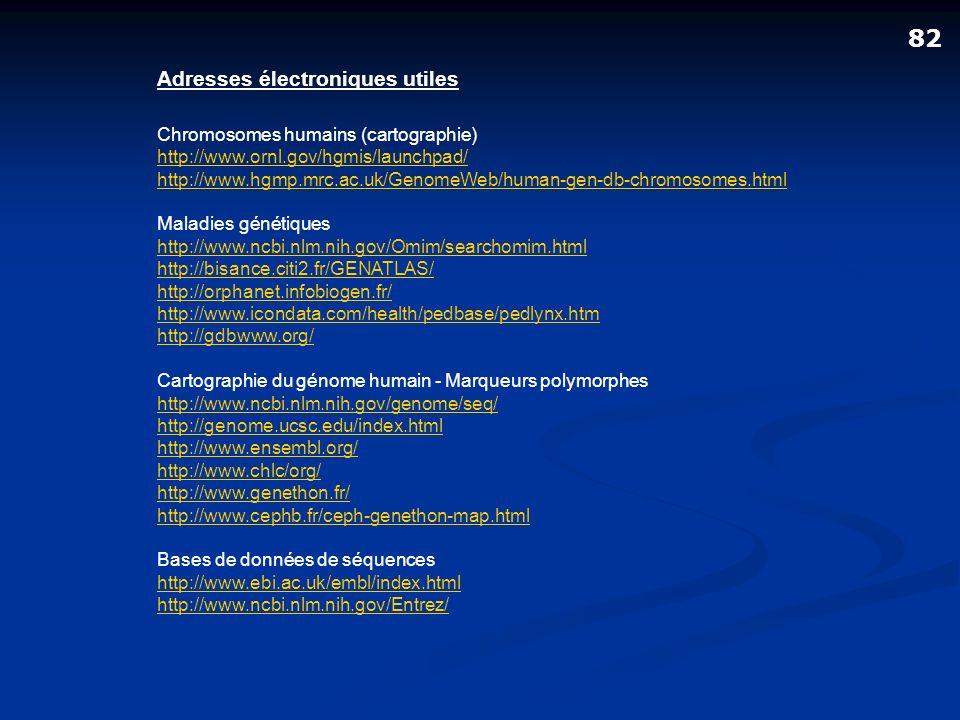 Adresses électroniques utiles Chromosomes humains (cartographie) http://www.ornl.gov/hgmis/launchpad/ http://www.hgmp.mrc.ac.uk/GenomeWeb/human-gen-db
