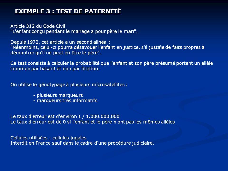 EXEMPLE 3 : TEST DE PATERNITÉ Article 312 du Code Civil