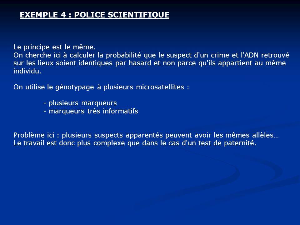 EXEMPLE 4 : POLICE SCIENTIFIQUE Le principe est le même. On cherche ici à calculer la probabilité que le suspect d'un crime et l'ADN retrouvé sur les