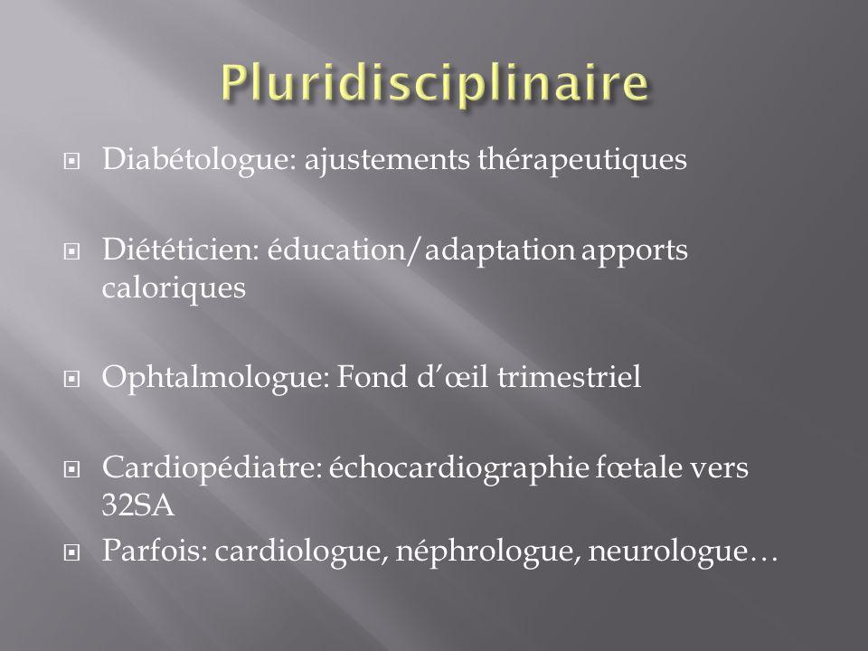 Diabétologue: ajustements thérapeutiques Diététicien: éducation/adaptation apports caloriques Ophtalmologue: Fond dœil trimestriel Cardiopédiatre: éch