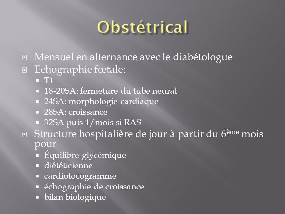 Mensuel en alternance avec le diabétologue Echographie fœtale: T1 18-20SA: fermeture du tube neural 24SA: morphologie cardiaque 28SA: croissance 32SA