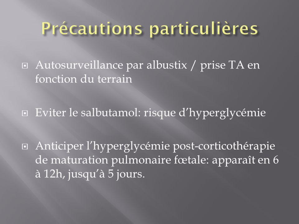 Autosurveillance par albustix / prise TA en fonction du terrain Eviter le salbutamol: risque dhyperglycémie Anticiper lhyperglycémie post-corticothéra