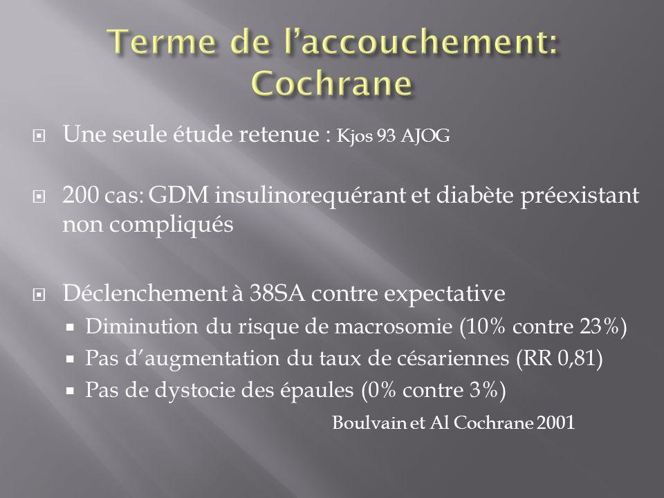 Une seule étude retenue : Kjos 93 AJOG 200 cas: GDM insulinorequérant et diabète préexistant non compliqués Déclenchement à 38SA contre expectative Di