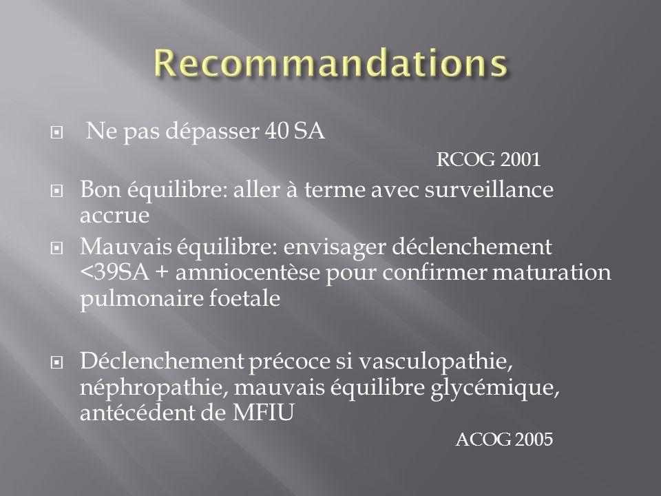 Ne pas dépasser 40 SA RCOG 2001 Bon équilibre: aller à terme avec surveillance accrue Mauvais équilibre: envisager déclenchement <39SA + amniocentèse
