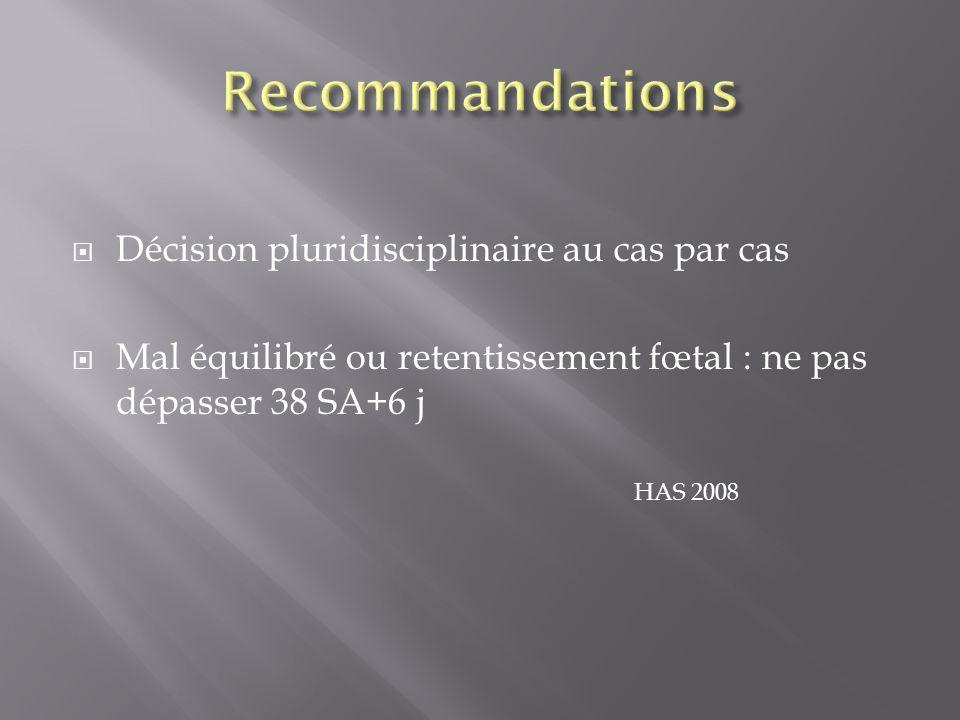 Décision pluridisciplinaire au cas par cas Mal équilibré ou retentissement fœtal : ne pas dépasser 38 SA+6 j HAS 2008