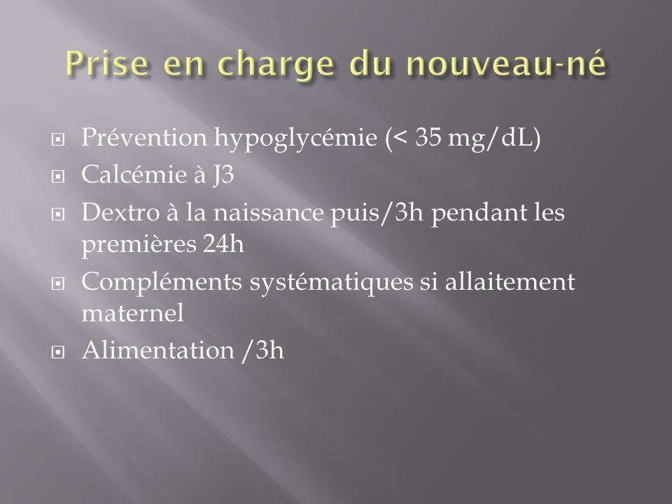Prévention hypoglycémie (< 35 mg/dL) Calcémie à J3 Dextro à la naissance puis/3h pendant les premières 24h Compléments systématiques si allaitement ma