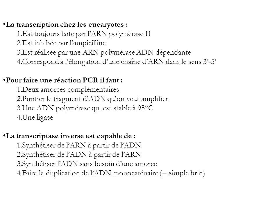 La transcription chez les eucaryotes : 1.Est toujours faite par lARN polymérase II 2.Est inhibée par lampicilline 3.Est réalisée par une ARN polyméras