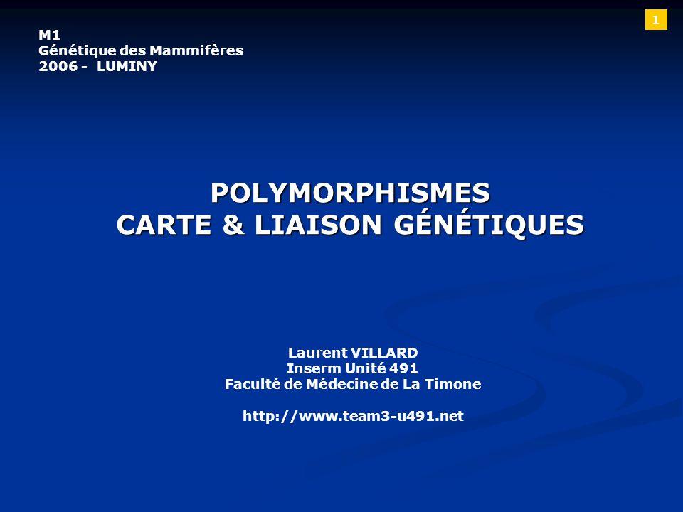 POLYMORPHISMES CARTE & LIAISON GÉNÉTIQUES Laurent VILLARD Inserm Unité 491 Faculté de Médecine de La Timone http://www.team3-u491.net M1 Génétique des