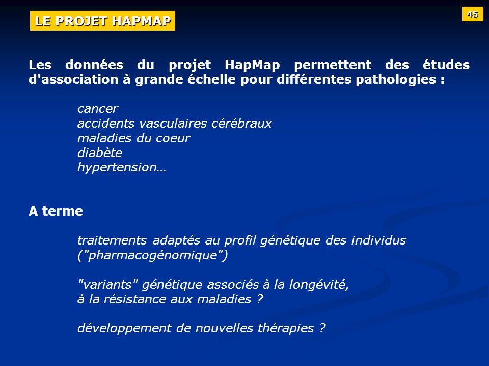 Les données du projet HapMap permettent des études d'association à grande échelle pour différentes pathologies : cancer accidents vasculaires cérébrau