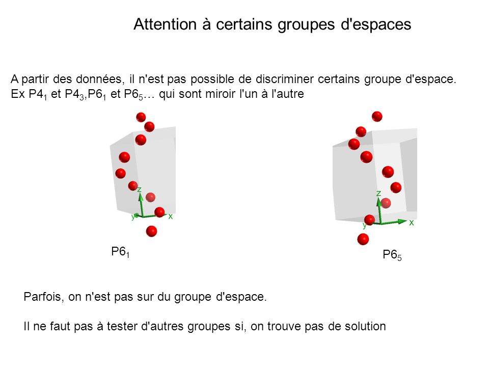 Attention à certains groupes d'espaces A partir des données, il n'est pas possible de discriminer certains groupe d'espace. Ex P4 1 et P4 3,P6 1 et P6