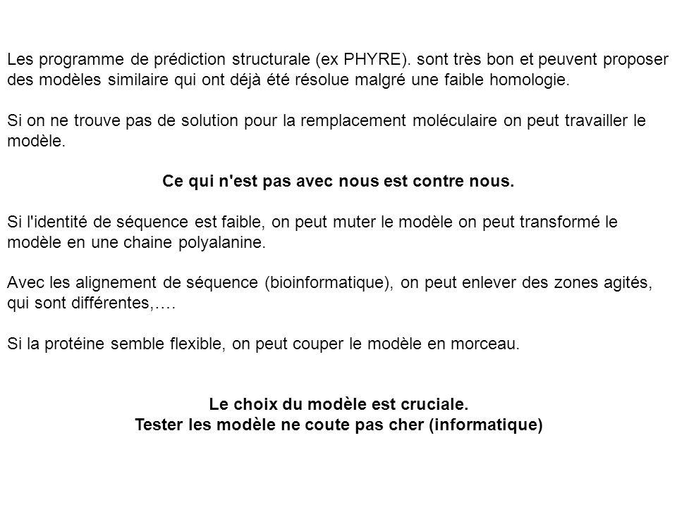 Les programme de prédiction structurale (ex PHYRE). sont très bon et peuvent proposer des modèles similaire qui ont déjà été résolue malgré une faible