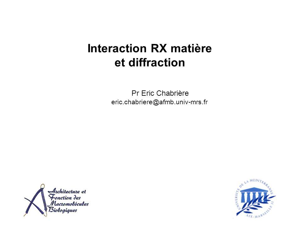 Calcul du déphasage Différence de marche Déphasage r k k k k 2 Somme des deux ondes dans la direction déterminée par le vecteur diffusion