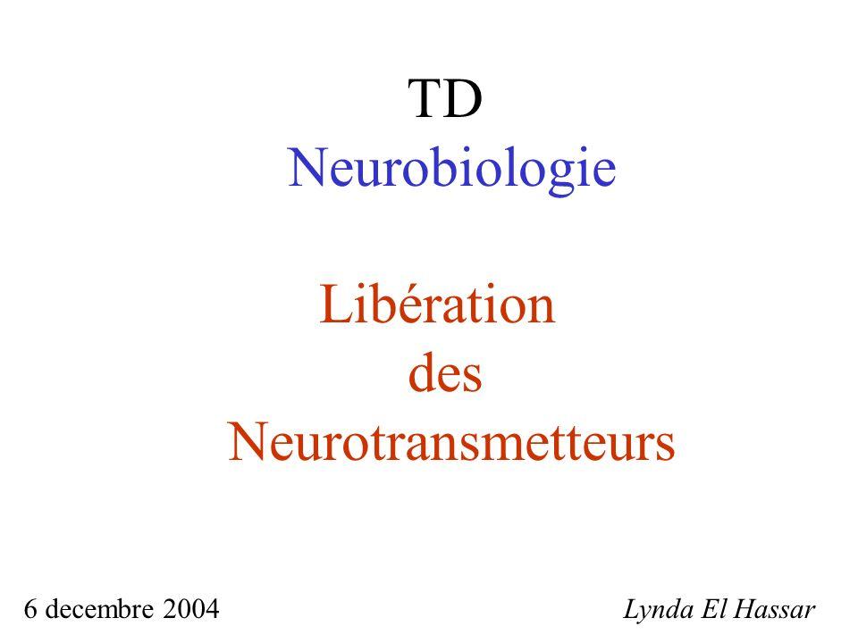 TD Neurobiologie Libération des Neurotransmetteurs Lynda El Hassar6 decembre 2004