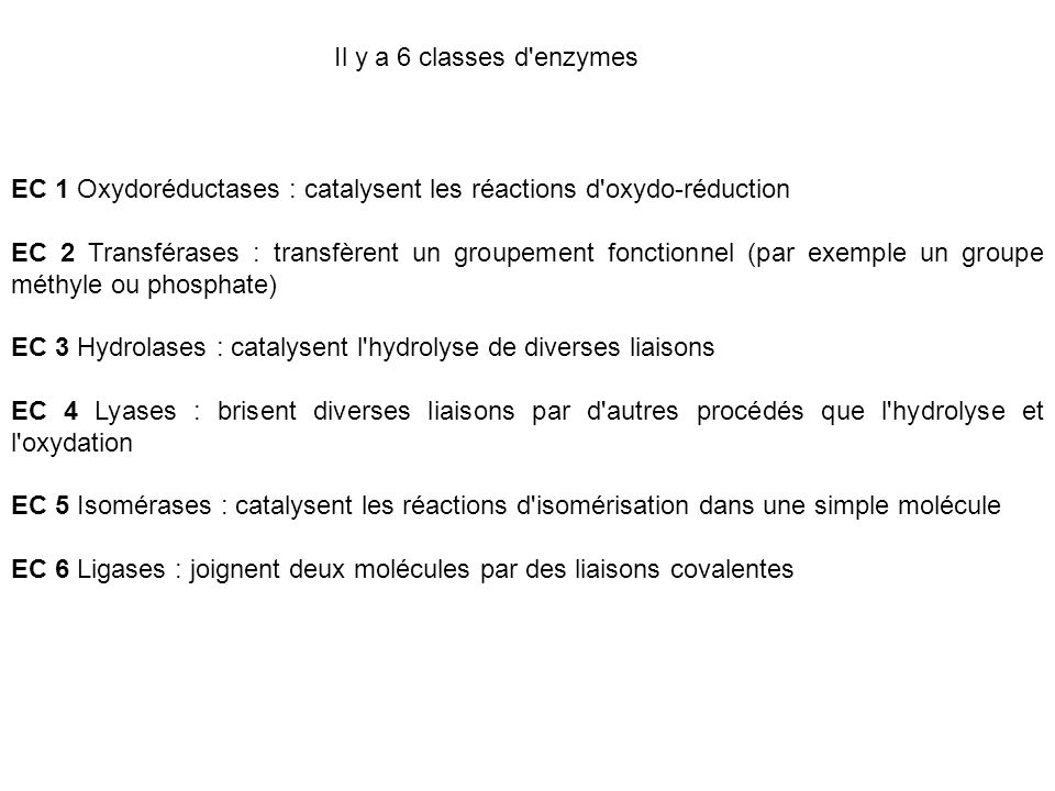 Il y a 6 classes d'enzymes EC 1 Oxydoréductases : catalysent les réactions d'oxydo-réduction EC 2 Transférases : transfèrent un groupement fonctionnel
