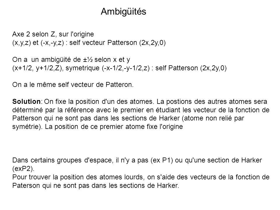 Ambigüités Axe 2 selon Z, sur l'origine (x,y,z) et (-x,-y,z) : self vecteur Patterson (2x,2y,0) On a un ambigüité de ±½ selon x et y (x+1/2, y+1/2,Z),