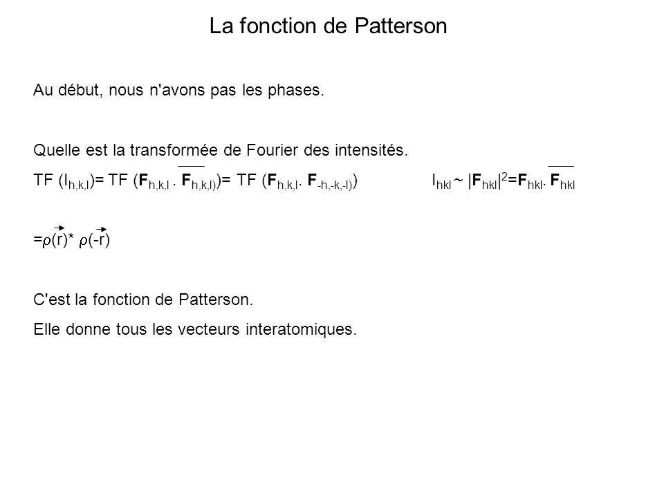 La fonction de Patterson Au début, nous n'avons pas les phases. Quelle est la transformée de Fourier des intensités. TF (I h,k,l )= TF (F h,k,l. F h,k