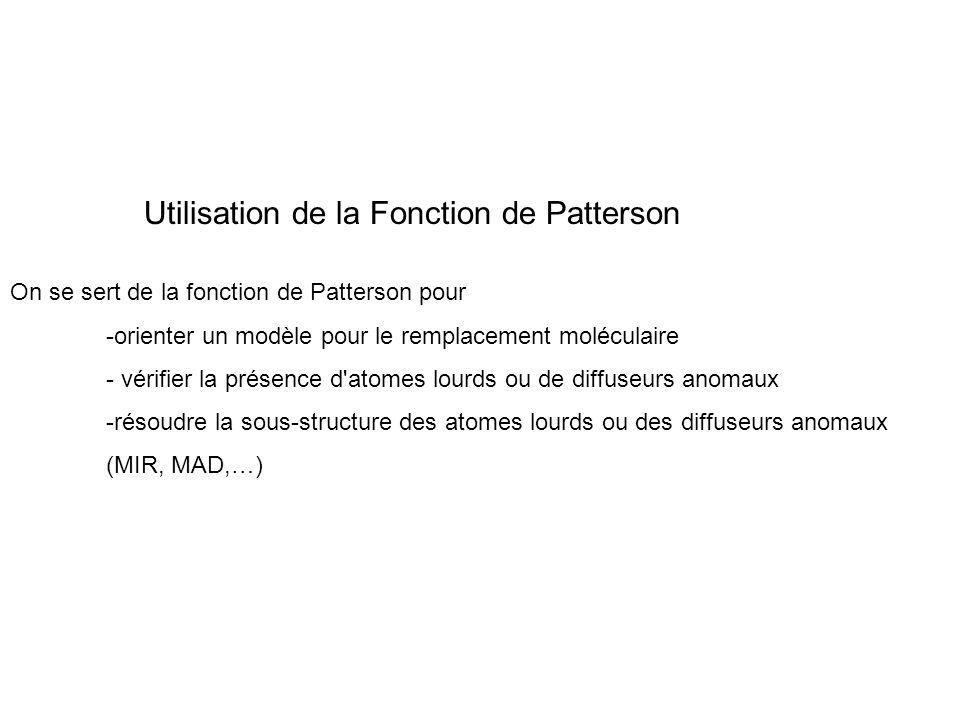 Utilisation de la Fonction de Patterson On se sert de la fonction de Patterson pour -orienter un modèle pour le remplacement moléculaire - vérifier la